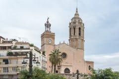 Εκκλησία Sant Bartomeu & Santa Tecla σε Sitges, Ισπανία Στοκ Εικόνα