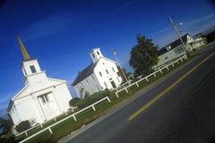 Εκκλησίες στο Addison, VT κατά μήκος της φυσικής διαδρομής 22A Στοκ Εικόνες