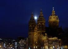 Εκκλησίες του Άμστερνταμ τη νύχτα Στοκ Φωτογραφία