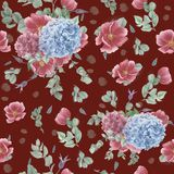 Εκλεκτής ποιότητας άνευ ραφής σχέδιο με τα ρόδινα anemones, τον ευκάλυπτο και τα μπλε και ρόδινα hydrangeas Στοκ Εικόνες