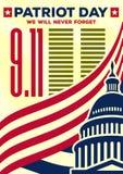 Εκλεκτής ποιότητας έμβλημα ή αφίσα ημέρας πατριωτών Δεν θα ξεχάσουμε ποτέ στις 11 Σεπτεμβρίου ελεύθερη απεικόνιση δικαιώματος