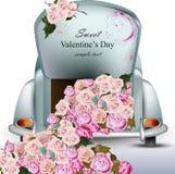 Εκλεκτής ποιότητας αναδρομικό αυτοκίνητο με τα ροδαλά λουλούδια Διάνυσμα καρτών ημέρας βαλεντίνων Ρομαντικά σχέδια ευχετήριων καρ Στοκ εικόνα με δικαίωμα ελεύθερης χρήσης