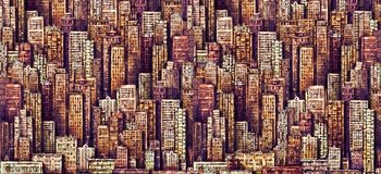 Εκλεκτής ποιότητας απεικόνιση με την αρχιτεκτονική NYC, ουρανοξύστες, megapolis, κτήρια, κεντρικός Συρμένο χέρι υπόβαθρο με τη με απεικόνιση αποθεμάτων