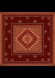 Εκλεκτής ποιότητας ασιατικός τάπητας με την εθνική διακόσμηση στις κόκκινες σκιές Στοκ Φωτογραφία