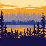 Εκλεκτής ποιότητας αφίσα φύσης - δέντρα στη λίμνη Στοκ Φωτογραφία