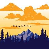 Εκλεκτής ποιότητας αφίσα φύσης - πουλιά που πετούν πέρα από το βουνό Στοκ Εικόνα