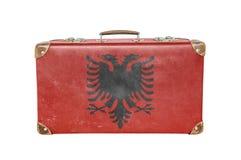 Εκλεκτής ποιότητας βαλίτσα με τη σημαία της Αλβανίας Στοκ Φωτογραφίες