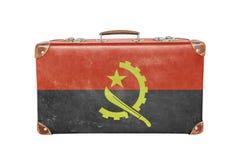 Εκλεκτής ποιότητας βαλίτσα με τη σημαία της Ανγκόλα Στοκ Φωτογραφίες