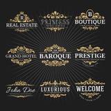 Εκλεκτής ποιότητας βασιλικός ακμάζει το διακοσμητικό σχέδιο λογότυπων πλαισίων διανυσματική απεικόνιση