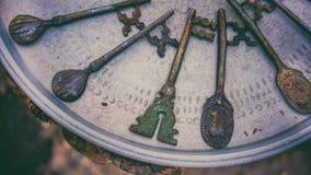 Εκλεκτής ποιότητας βικτοριανά κλειδιά στο δίσκο μετάλλων στοκ φωτογραφίες