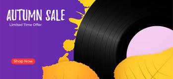Εκλεκτής ποιότητας βινυλίου υπόβαθρο πώλησης φθινοπώρου αρχείων Αναδρομικό πρότυπο υποβάθρου μουσικής Στοκ φωτογραφία με δικαίωμα ελεύθερης χρήσης