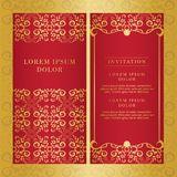 Εκλεκτής ποιότητας γαμήλιας πρόσκλησης χρυσό χρώμα σχεδίου καρτών διανυσματικό στοκ εικόνα