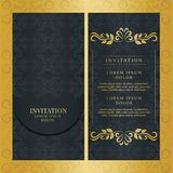 Εκλεκτής ποιότητας γαμήλιας πρόσκλησης χρυσό χρώμα σχεδίου καρτών διανυσματικό στοκ φωτογραφία με δικαίωμα ελεύθερης χρήσης