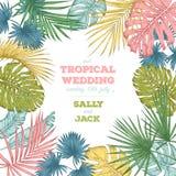 Εκλεκτής ποιότητας γαμήλια πρόσκληση Καθιερώνον τη μόδα τροπικό σχέδιο φύλλων Στοκ Εικόνες