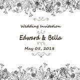 Εκλεκτής ποιότητας γαμήλια πρόσκληση Συρμένα χέρι διανυσματικά λουλούδια λιβαδιών και απεικόνιση αποθεμάτων