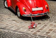 Εκλεκτής ποιότητας γαμήλιο αυτοκίνητο με ακριβώς το παντρεμένο σημάδι και δοχεία συνημμένα στοκ φωτογραφία