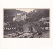 Εκλεκτής ποιότητας γραπτή κάρτα Clovelly, Devon, UK στοκ εικόνες