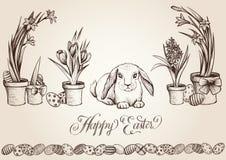 Εκλεκτής ποιότητας διανυσματική κάρτα Πάσχας Κυνηγός αυγών λαγουδάκι που ψάχνει τα κρυμμένα αυγά μεταξύ των λουλουδιών άνοιξη Στοκ Εικόνες
