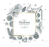 Εκλεκτής ποιότητας διανυσματική κάρτα Χριστουγέννων Στοκ Εικόνες