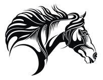 Εκλεκτής ποιότητας διανυσματική σκιαγραφία ύφους λογότυπων ενός τρέχοντας κεφαλιού αλόγων απεικόνιση αποθεμάτων