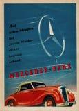 Εκλεκτής ποιότητας διαφήμιση για Benz της Mercedes σε χαρτί Εκλεκτής ποιότητας αναφορά των πρόωρων 19 στοκ φωτογραφία με δικαίωμα ελεύθερης χρήσης
