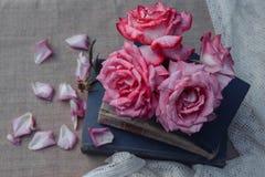 Εκλεκτής ποιότητας ελεύθερος χρόνος, ανάγνωση και λουλούδια στοκ εικόνα