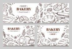Εκλεκτής ποιότητας εμβλήματα αρτοποιείων με το σκιαγραφημένο διανυσματικό σύνολο ψωμιού διανυσματική απεικόνιση