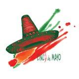 Εκλεκτής ποιότητας ετικέτα, συρμένο χέρι σκίτσο καπέλων σομπρέρο μεξικάνικο παραδοσιακό, grunge κατασκευασμένο αναδρομικό διακριτ Διανυσματική απεικόνιση