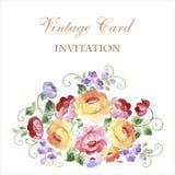 Εκλεκτής ποιότητας ευχετήρια κάρτα με τα ανθίζοντας λουλούδια Με τη θέση για σας Στοκ Φωτογραφία