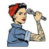 Εκλεκτής ποιότητας ζωηρόχρωμη καρφίτσα επάνω στο μηχανικό κορίτσι Στοκ εικόνα με δικαίωμα ελεύθερης χρήσης
