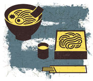 Εκλεκτής ποιότητας ιαπωνική noodles απεικόνιση με Grunge Στοκ φωτογραφία με δικαίωμα ελεύθερης χρήσης