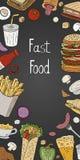 Εκλεκτής ποιότητας κάθετο γρήγορο φαγητό στο μαύρο υπόβαθρο Διανυσματικό συρμένο χέρι έμβλημα τροφίμων οδών για τις επιλογές καφέ διανυσματική απεικόνιση
