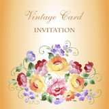 Εκλεκτής ποιότητας κάρτα με τα ανθίζοντας λουλούδια Με μια θέση για το κείμενό σας Στοκ Φωτογραφία