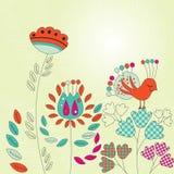 Εκλεκτής ποιότητας κάρτα με τα πουλιά και τα λουλούδια Στοκ Φωτογραφία