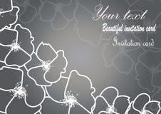 Εκλεκτής ποιότητας κάρτα με τα floral περιγράμματα στοκ εικόνα