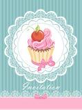 Εκλεκτής ποιότητας κάρτα με το cupcake διανυσματική απεικόνιση
