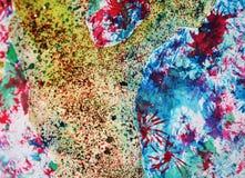 Εκλεκτής ποιότητας κέρινα σημεία φω'των κρητιδογραφιών χρυσά λαμπιρίζοντας, χρώμα watercolor, ζωηρόχρωμα χρώματα Στοκ Εικόνες
