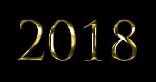 Εκλεκτής ποιότητας κίτρινο χρυσό κείμενο λέξης του 2018 με την ελαφριά αντανάκλαση στο μαύρο υπόβαθρο με το άλφα κανάλι, έννοια τ ελεύθερη απεικόνιση δικαιώματος