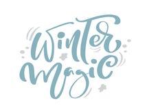 Εκλεκτής ποιότητας καλλιγραφία χειμερινών μαγική μπλε Χριστουγέννων που γράφει το διανυσματικό κείμενο με το ντεκόρ χειμερινών σχ απεικόνιση αποθεμάτων
