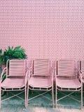 Εκλεκτής ποιότητας καρέκλες και τοίχος με το ρόδινο χρώμα στον κήπο Στοκ Εικόνες