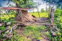 Εκλεκτής ποιότητας κλίβανος ξυλάνθρακα φιαγμένος από άργιλο και το απόθεμα του ξύλινου materia στοκ εικόνες