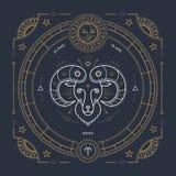 Εκλεκτής ποιότητας λεπτή zodiac Aries γραμμών ετικέτα σημαδιών Αναδρομικό διανυσματικό αστρολογικό σύμβολο Στοκ εικόνα με δικαίωμα ελεύθερης χρήσης