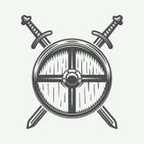 Εκλεκτής ποιότητας λογότυπο Βίκινγκ, έμβλημα, διακριτικό στο αναδρομικό ύφος Στοκ Φωτογραφία