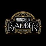 Εκλεκτής ποιότητας λογότυπο καταστημάτων κουρέων με το γραμμικό πλαίσιο Λογότυπο Barbershop στα γαλλικά επίσης corel σύρετε το δι διανυσματική απεικόνιση
