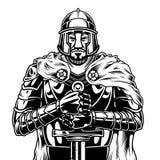 Εκλεκτής ποιότητας μονοχρωματικός μεσαιωνικός πολεμιστής απεικόνιση αποθεμάτων