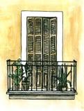 Εκλεκτής ποιότητας μπαλκόνι με τα δοχεία λουλουδιών και τα κιγκλιδώματα επεξεργασμένου σιδήρου - ζωγραφισμένη στο χέρι απεικόνιση ελεύθερη απεικόνιση δικαιώματος