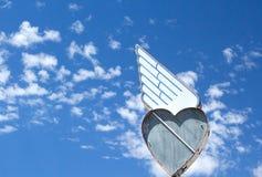 Εκλεκτής ποιότητας μπλε ουρανός σημαδιών καρδιών ουρανού Στοκ Εικόνα
