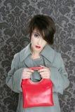 Εκλεκτής ποιότητας μόδα γυναικών τσαντών κόκκινη αναδρομική Στοκ Φωτογραφίες