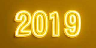 Εκλεκτής ποιότητας νέο έτος 2019 με τα κίτρινα άσπρα ψηφία στο καφετί υπόβαθρο τρισδιάστατη απεικόνιση διανυσματική απεικόνιση
