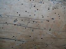 Εκλεκτής ποιότητας ξύλινη σύσταση με τις τρύπες στοκ φωτογραφία